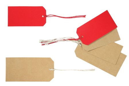gift packs: Blank gift tags for text messages on a white background.