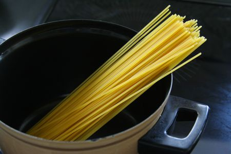Plate of spaghetti with tomato sauce. photo