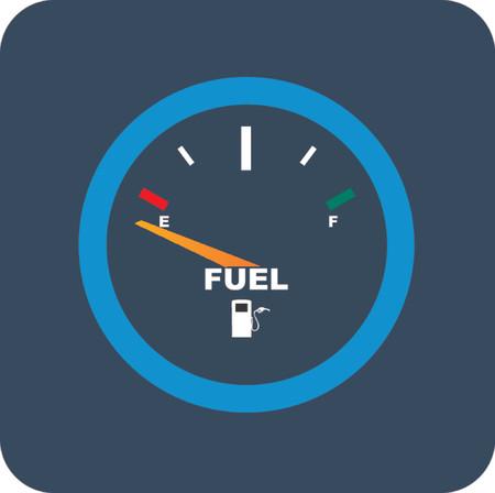 gauging: Vector image of a fuel gauge, shows empty.