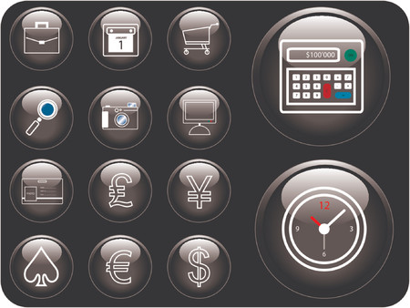 Vector icons with finance and security theme. Vector