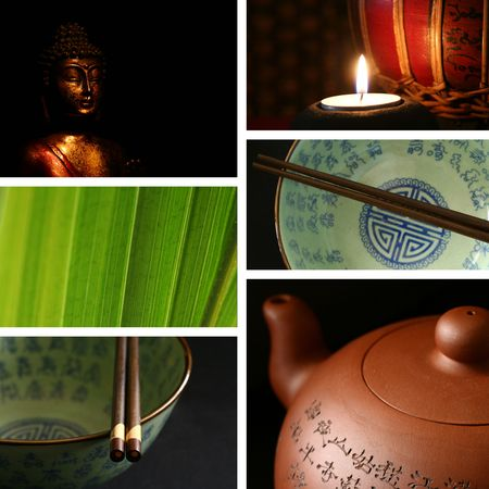 Chinese bowls, chopsticks, teapot, buddha collages. photo
