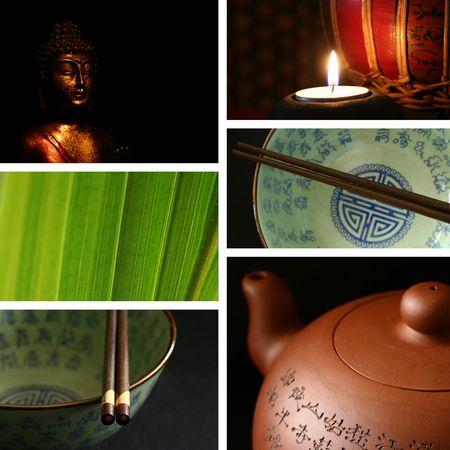 Chinese bowls, chopsticks, teapot, buddha collages. photo