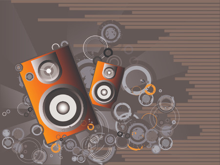 music machine: Retro disco vector with grunge background and a star burst effect.