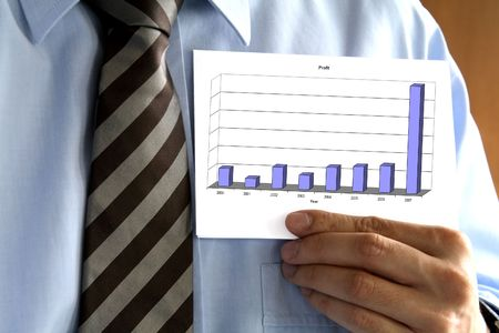 dataflow: Man in tie holding a paper with a graph.