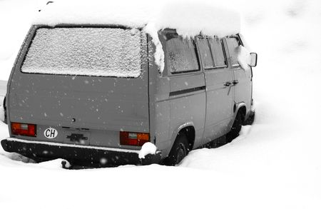 Van covered deep in snow. Stock Photo - 712324