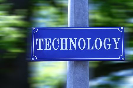 Street sign with text Technology. photo