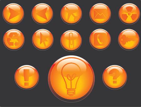 Vector 3D buttons communication theme. Vector