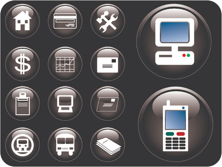 Vector 3D buttons of communication, transportation, property and finance. Illustration