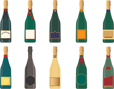 uncork: Various generic champagne bottles in vector format. Labels can be used for text messages. Illustration