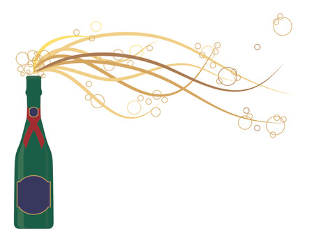 uncork: Generic champagne bottle in vector format with bubbles bursting out of the bottle. Labels can be used for text messages.