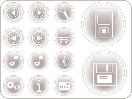 3D vector buttons with an internet theme. Vector