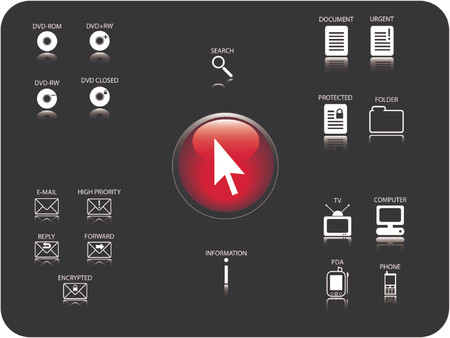 cd rom: Glossy 3D icon and various other icons with reflection. Theme: Email, DVD, electronics and documents.