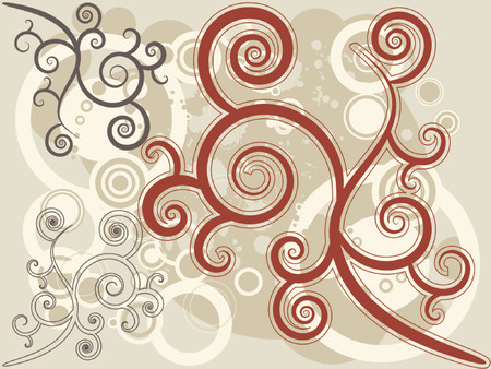 Retro vector rings and floral motif with various color combination. Vector