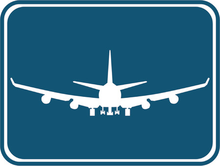 takeoff: Silhouette of a air plane with a blue background.