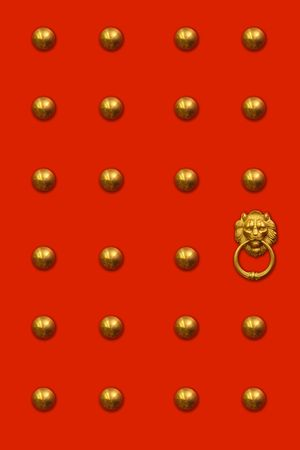 Red chinese door with a lion/dragon head. Concept: Chinese New Year celebration. Stock Photo - 763916