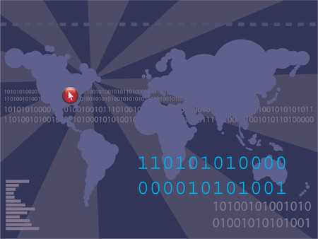 Futuristic world map with binary codes - ones and zeros. Vector image - colors and elements can be changed Stock Vector - 791468