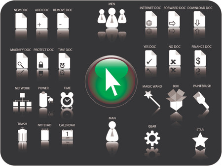 gear box: Glossy 3D icon and various other icons with reflection. Theme: Files, Documents, Date and Time and various hardware.