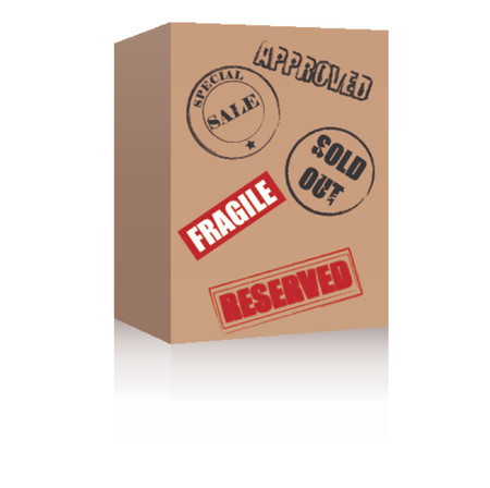 Brown box with various symbols. Vector format.