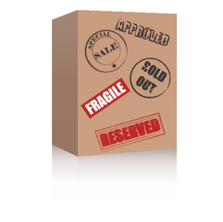 brown box: Brown scatola con i vari simboli. Formato vettoriale.