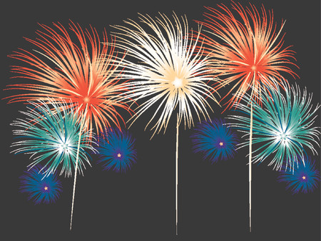 Bright and colorful fireworks display in vector format. Colors and positions of fireworks can be changed. Stock Vector - 791472