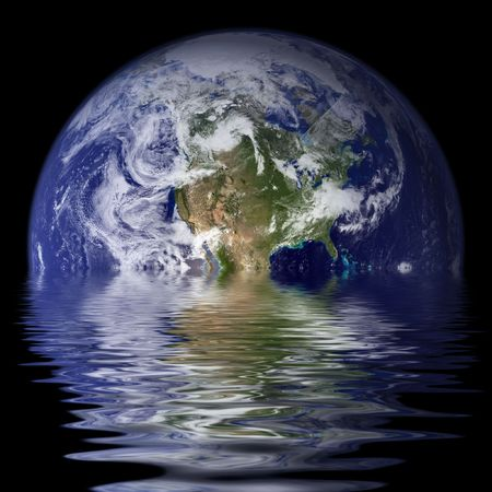 half globe: Planet Earth reflected on water with waves  ripples.