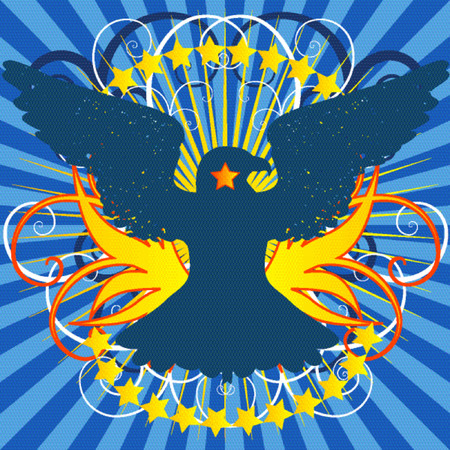 Vector - Bright shining crest with eagle and a floral background.