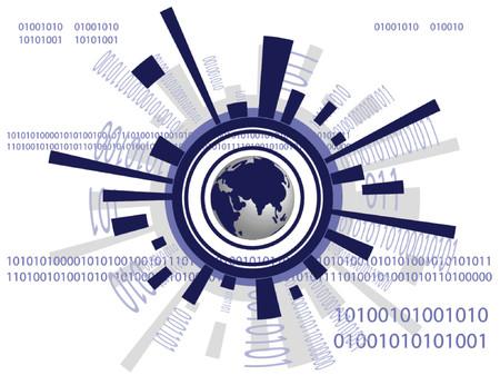 Vector - carte du monde futuriste avec des codes binaires - uns et de zéros. Vecteurs
