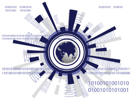Vector - Futuristic world map with binary codes - ones and zeros.