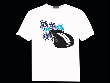 Vector - Urban car with retro circle or rings in the background on a T-shirt. Vector