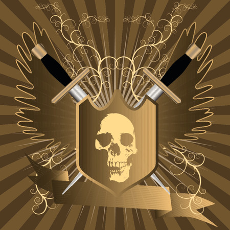 embedded: Vector - Shining shield with skull embedded in front and swords, wings and a floral background. Banner with copy space for text.