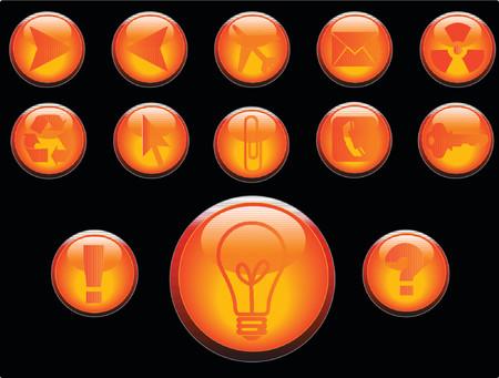 navigate: Vector 3D buttons communication theme. Illustration