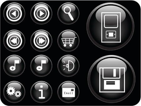 louder: 3D vector buttons with an internet theme.