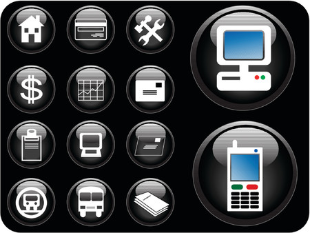 Business icon vectors in black. Illustration