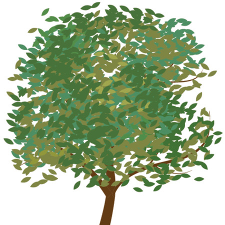 changed: Lone tree against a white background in vector format. Leaves can be removed and changed color. Theres branches behind the leaves.