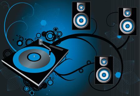 bpm: Retro vector with grunge background and a dj mix turntable. Concept: Party and entertainment. Illustration