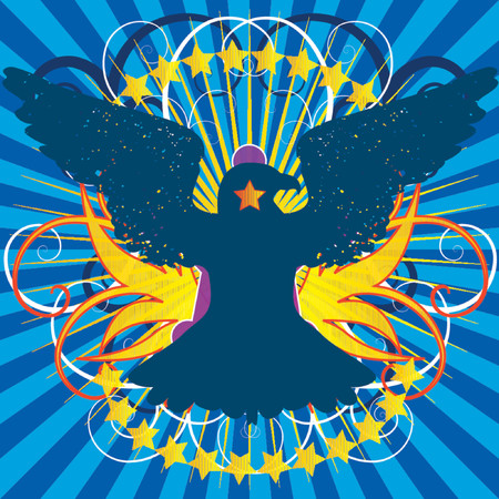 Vector - Bright shining crest with eagle and a floral background. Vector