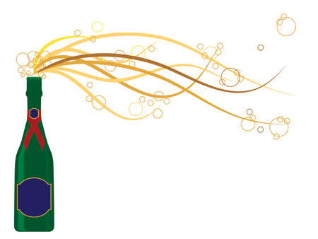 gas bottle: Generic champagne bottle in vector format with bubbles bursting out of the bottle. Labels can be used for text messages.