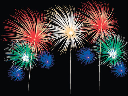 Bright and colorful fireworks display in vector format. Colors and positions of fireworks can be changed. Stock Vector - 902958
