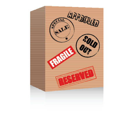 out of order: Brown box with various symbols. Vector format.