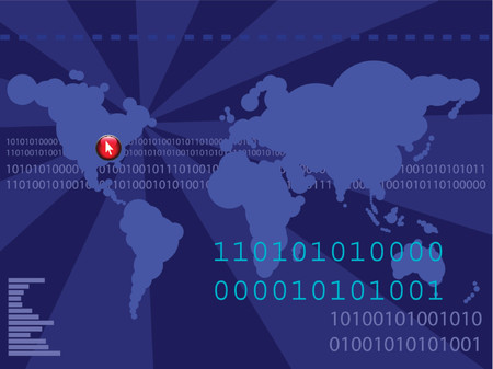 Futuristic world map with binary codes - ones and zeros. Vector image - colors and elements can be changed Stock Vector - 902962