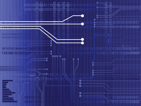 raster illustration: High res jpeg of a circuit board with binary codes as the background. Concept: Technology