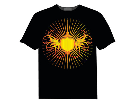 Vector - Golden shields with wings and bright star burst effect. Vector