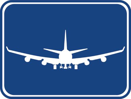 파란색 배경의 공기 비행기의 실루엣.
