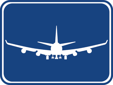 havayolu: Silhouette of a air plane with a blue background.