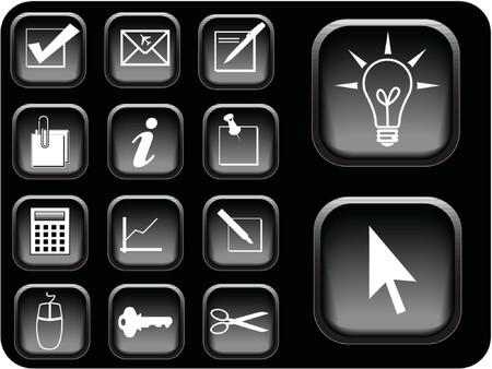Business icon vectors in black. Vector