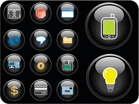Vector icons with technology, finance and security theme. Stock Vector - 937118