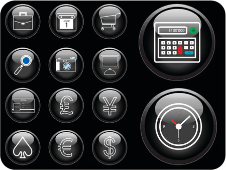 note pc: Vector icons with finance and security theme. Illustration