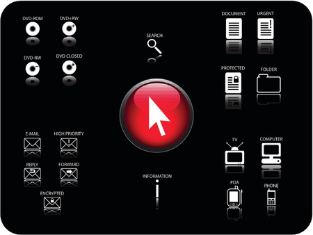 Glossy 3D icon and various other icons with reflection. Theme: Email, DVD, electronics and documents. Vector
