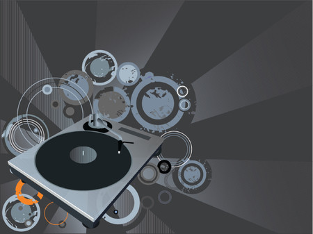 Retro vector with grunge background and a dj mix turntable. Concept: Party and entertainment. Vector