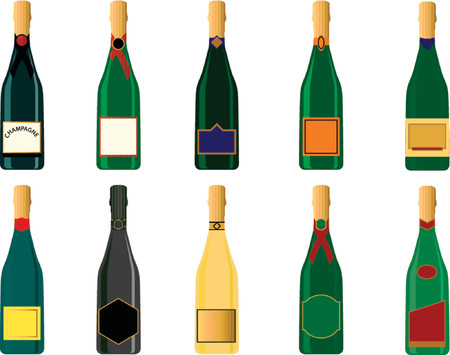 bubbly: Various generic champagne bottles in vector format. Labels can be used for text messages. Illustration
